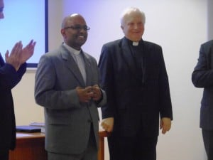 Fr. Christopher Vimalraj Hiruthya thanks HLI for their bioethics research library in Rome.