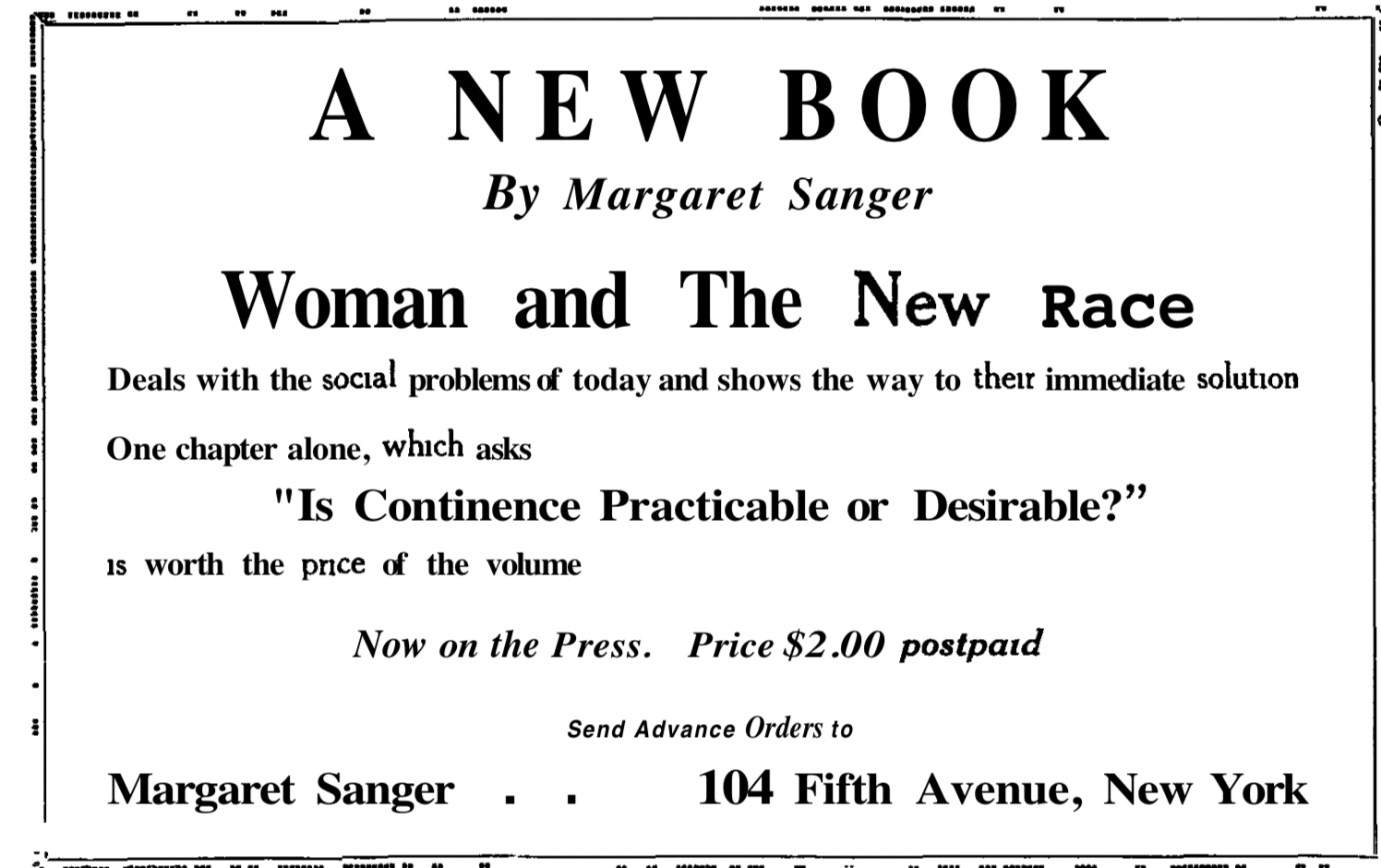 birth control review advertisement july 1920